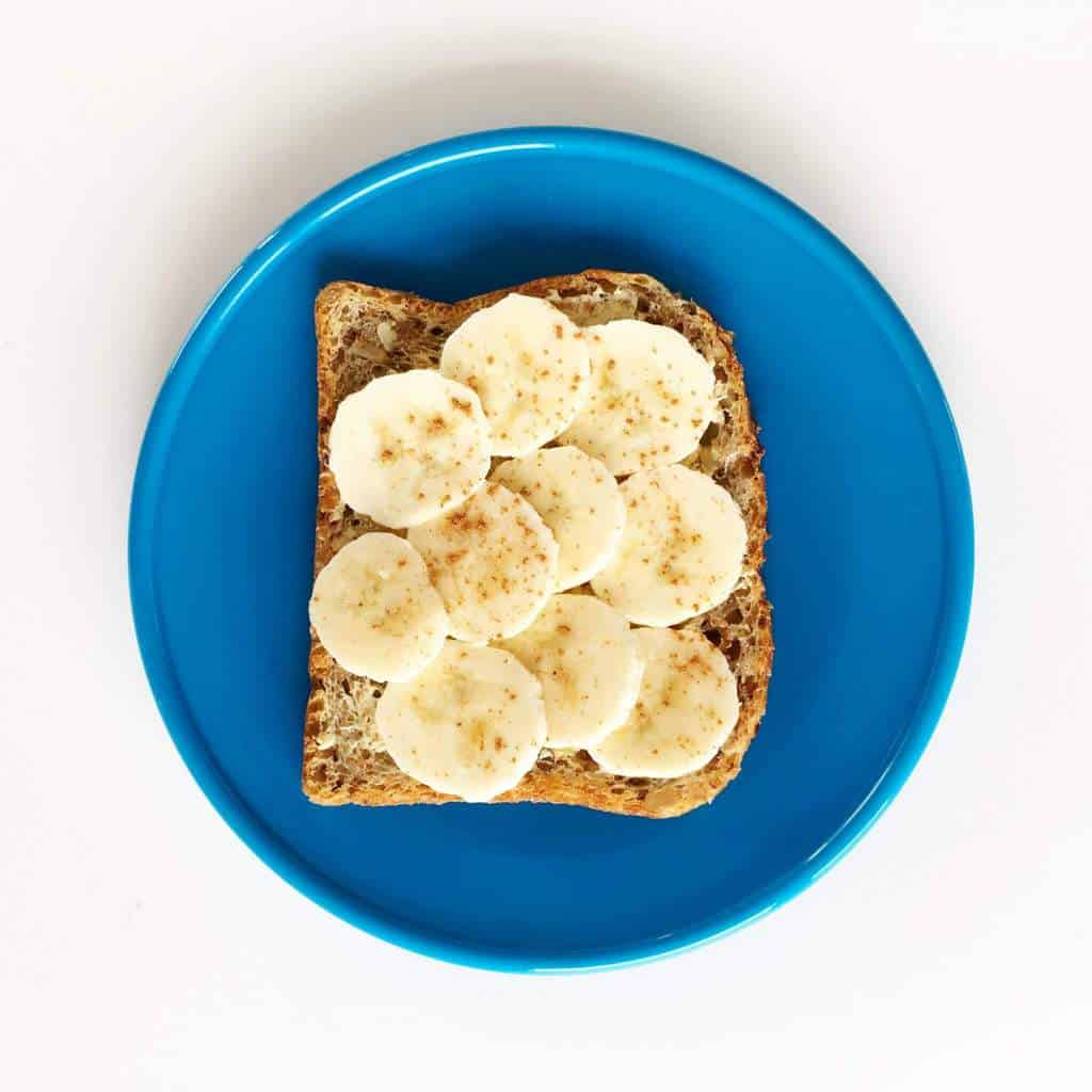 Healthy toast topping ideas for children, banana and peanut butter