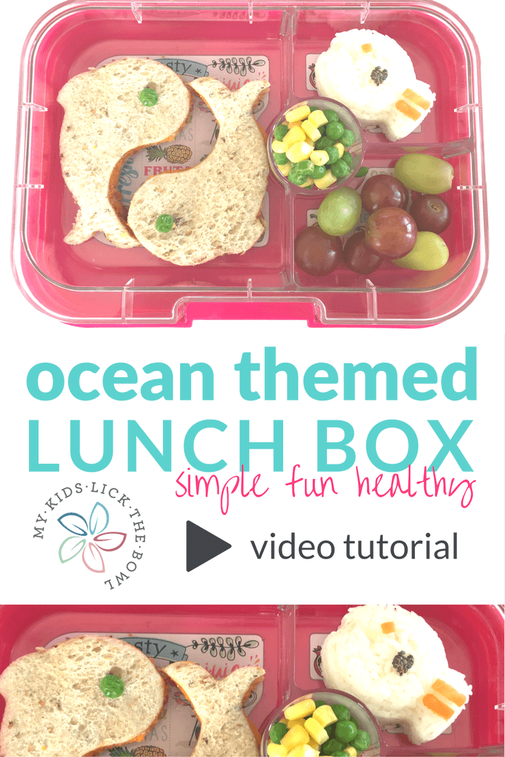 An ocean themed healthy kids lunch, packed into a yumbox