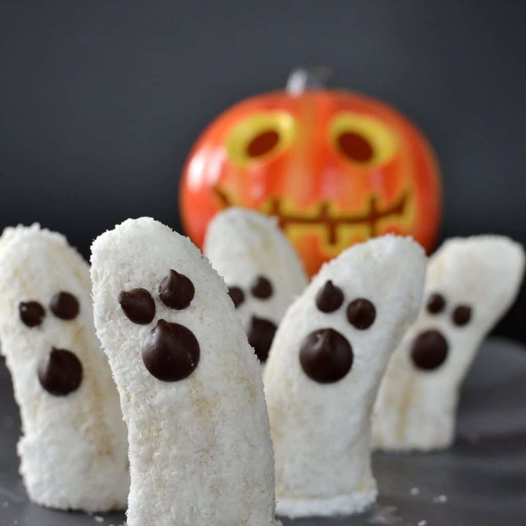 Healthy halloween treat for children. Boonanas made from bananas, coconut and coconut yoghurt