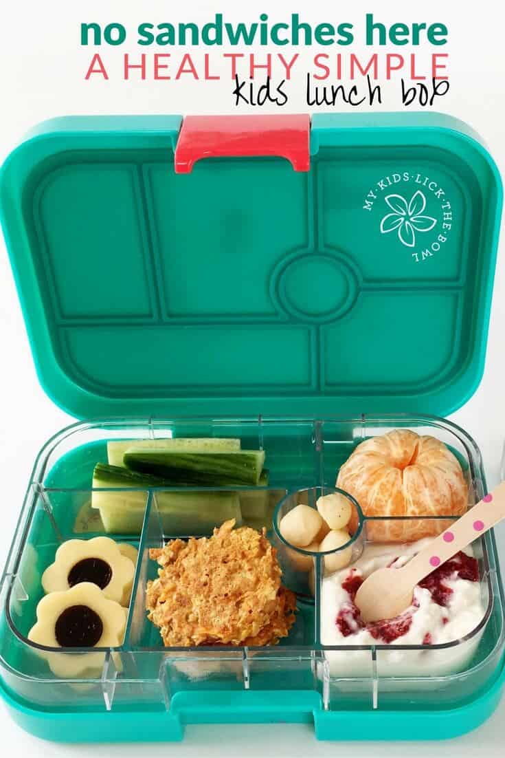 A healthy kid lunch box. No sandwiches but still easy and quick to put together. My lunch-box gallery has lots of healthy kid lunch ideas