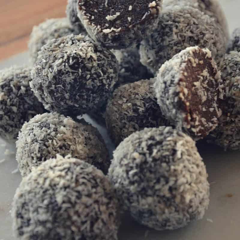 chocolate fruit and nut bliss balls, the easiest most flexible recipe can almost be made with anything you have in your cupboard. Can easily be made nut free