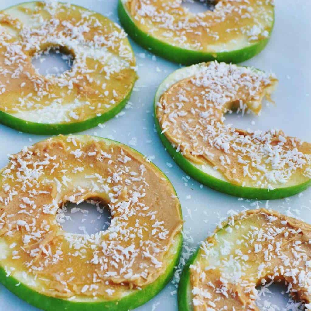 Nutty apple slice doughnuts. An easy snack that looks great, tastes great and is good for kids and adults alike.