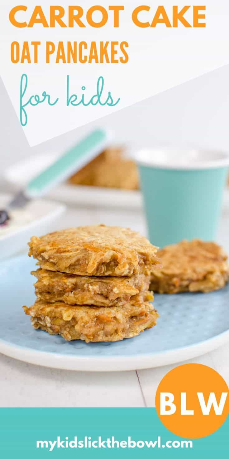Carrot Cake Oat Cakes Healthy pancakes for kids and baby led weaning Sugar free snack. Perfect finger food sweetened only with fruit and vegetables #sugarfree #babyledweaning #healthykids #babyfoods #pancakes #pickyeaters #baby #babies #kids