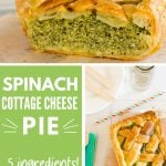 collage of images showing the filling of a spinach and cottage cheese pie and the lattice pastry top