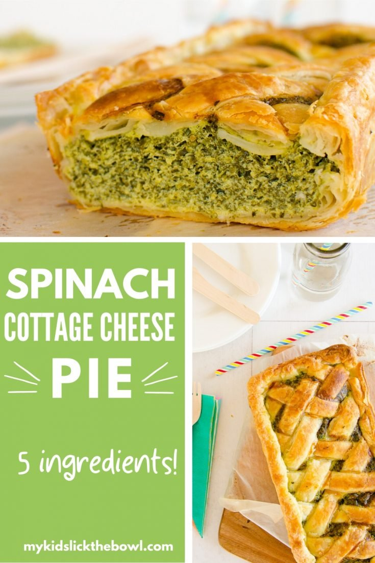 5 ingredient spinach pie recipe using puff pastry and cottage cheese. Easy Spanakopita #spinach #spanakopita #kidfriendly #familydinner #familyrecipes