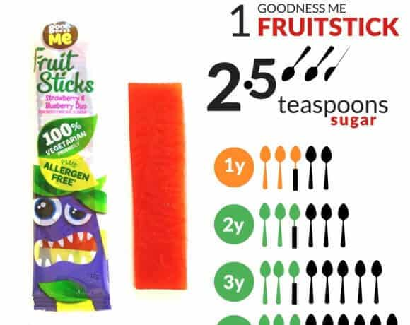 How much sugar is there in goodness me fruit sticks