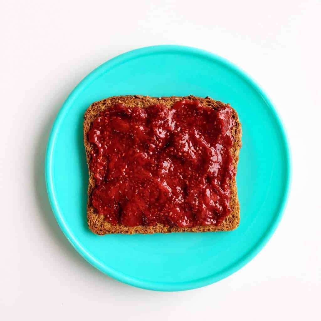 Healthy toast topping ideas for children, chia seed jam