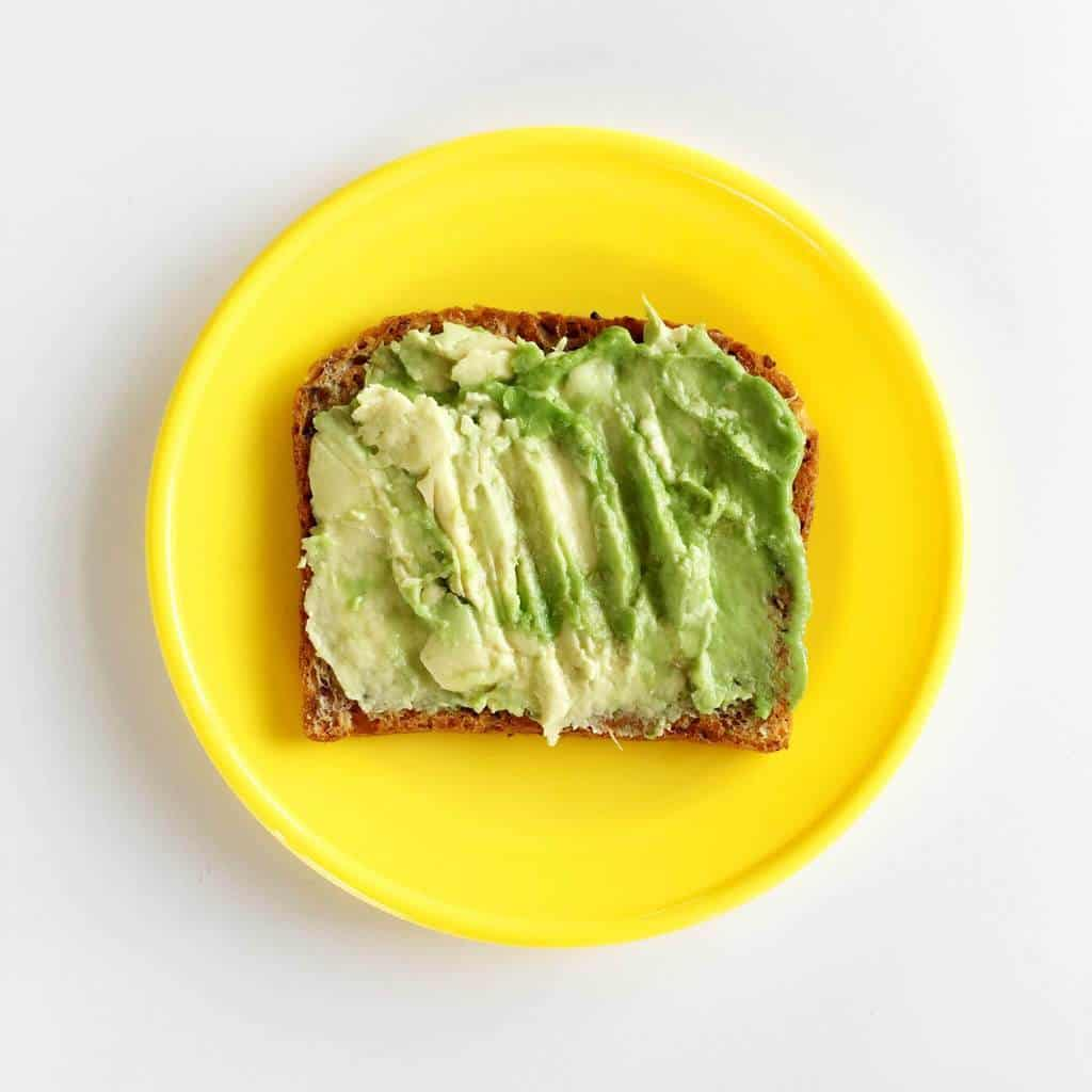 Healthy toast topping ideas for children, avocado