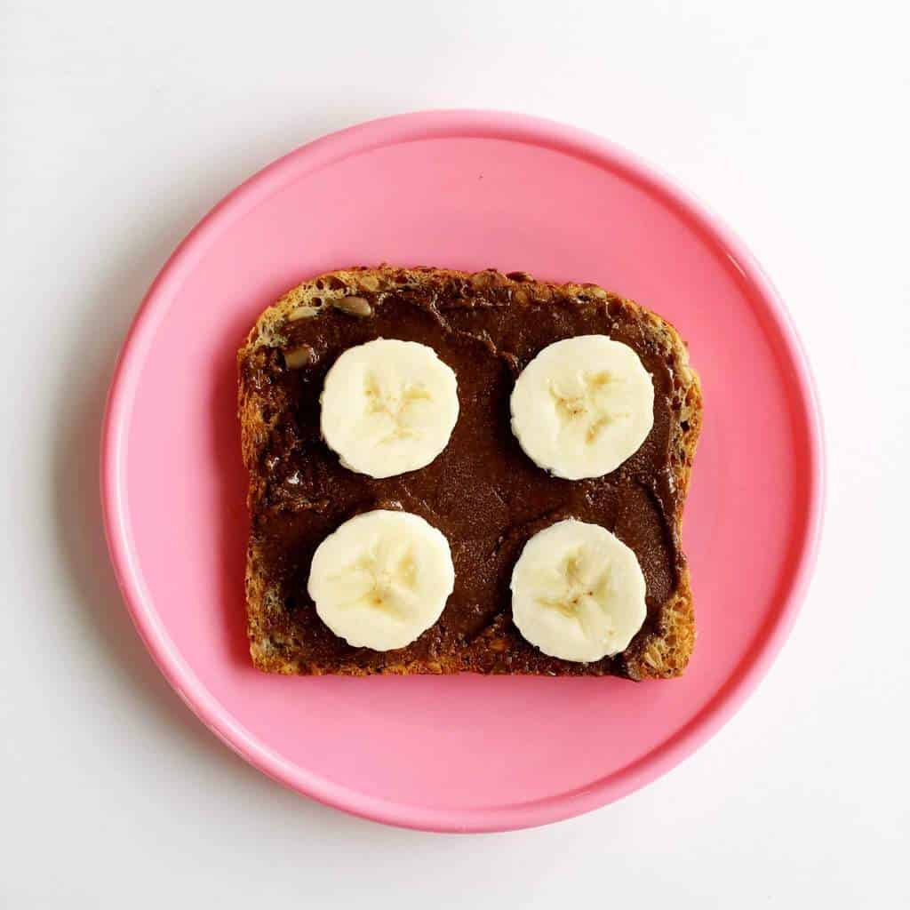 Healthy toast topping ideas for children, banana and chocolate spread