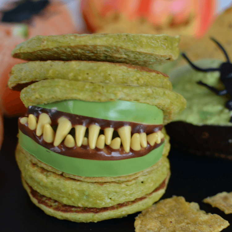 healthy halloween kids play date food platter peapancake stack