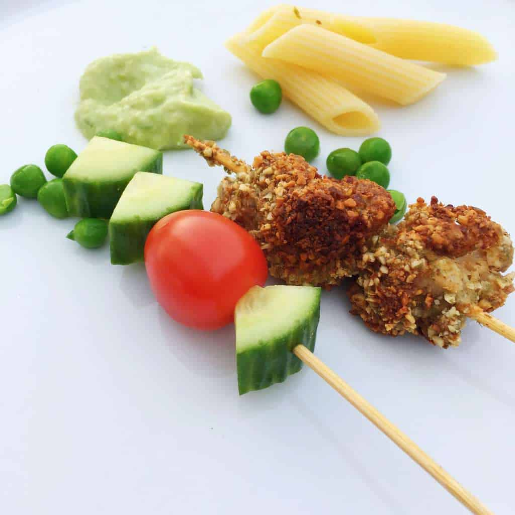 Pumpkin seed crusted chicken kebabs. Gluten Free, Wheat Free, Kid Friendly Food