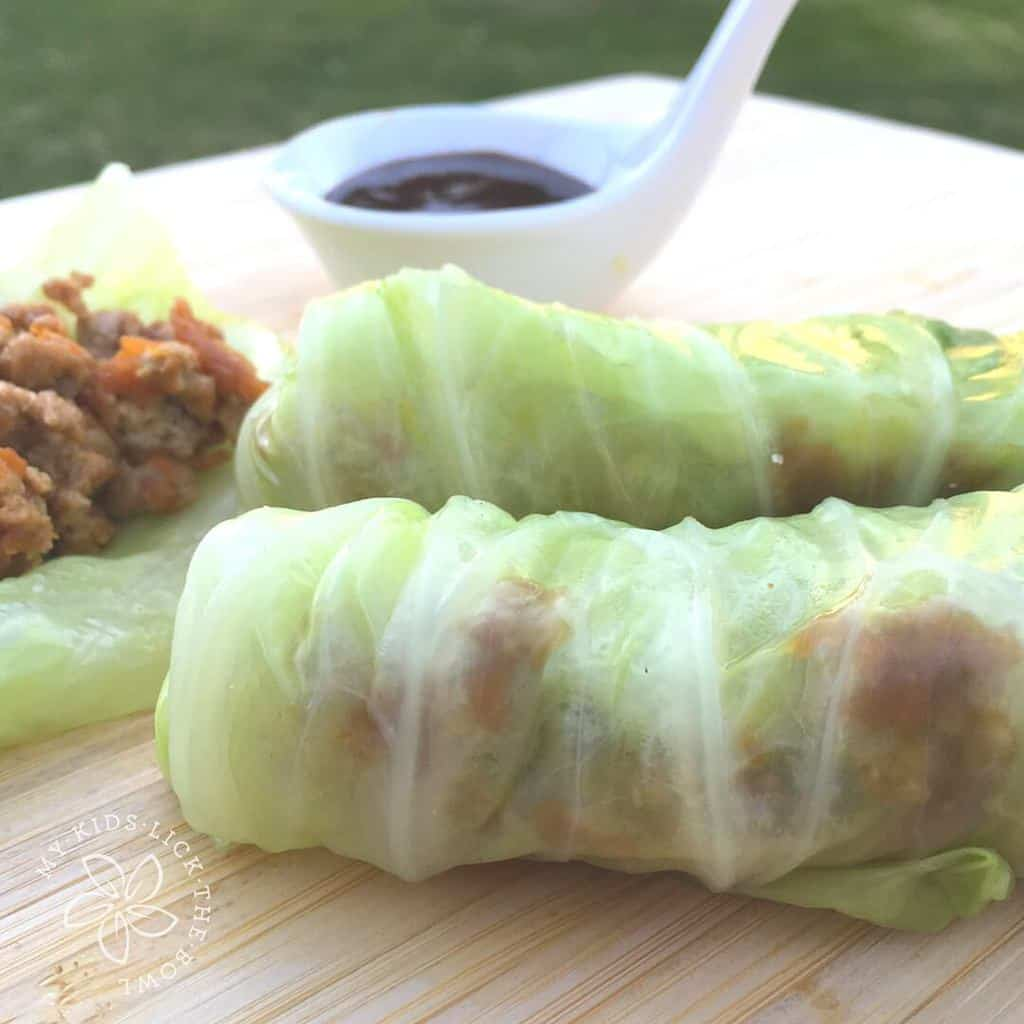 Asian pork stuffed cabbage rolls, so easy and a great family finger food meal
