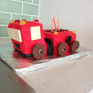 a healthy kid birthday cake, a fire truck cake for a three year old boy full of love fun and memories