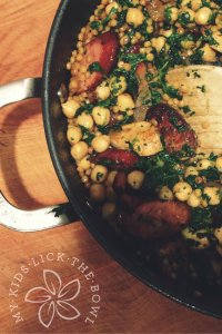 Chicken chickpea chorizo and couscous, an almost one pan meal that is a definite family pleaser