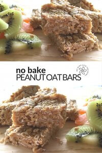 No bake peanut oat bars. 3 ingredients and much less sugar than commercial cereal bars