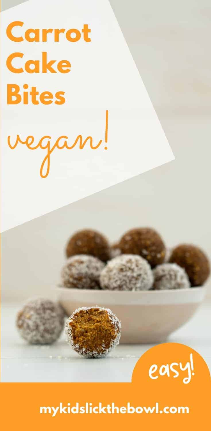 Carrot energy bites, a healthy no bake nut-free bliss ball for kids, also known as reindeer food a perfect healthy Christmas treat #blissball #veganrecipe #christmastreat