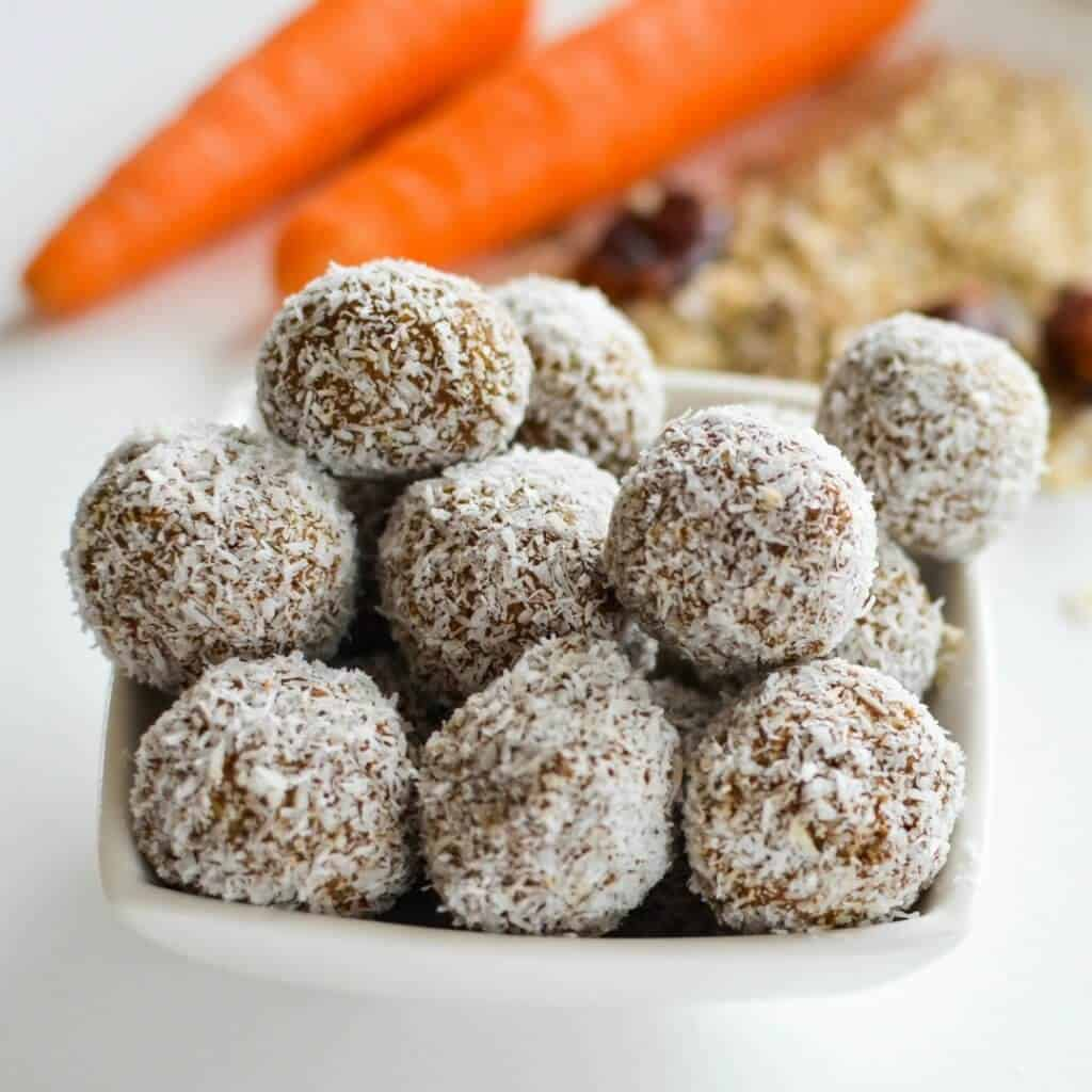 Healthy Treat For Children Nut Free Low Sugar Carrot Oat Energy Bites