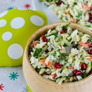 Christmas rice salad recipe. The colours scream Christmas and its chopped salad style makes it kid friendly too