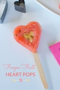 Heart Shaped Frozen Fruit Pops made with watermelon and banana, an easy healthy valentines treat