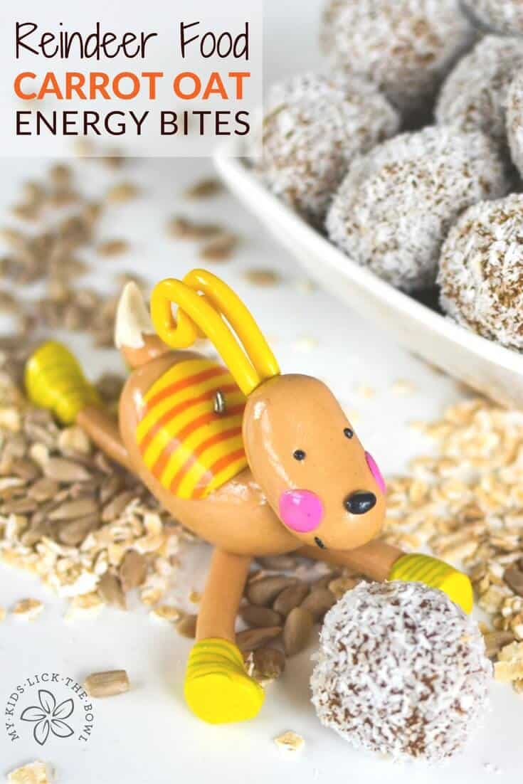 Healthy Christmas Treat for children Reindeer Food but free low sugar carrot oat energy bites