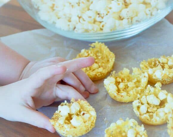 Cheesy popcorn bites a healthy savoury snack for kids. Easy two ingredient recipe perfect for a party or lunch box. Gluten Free