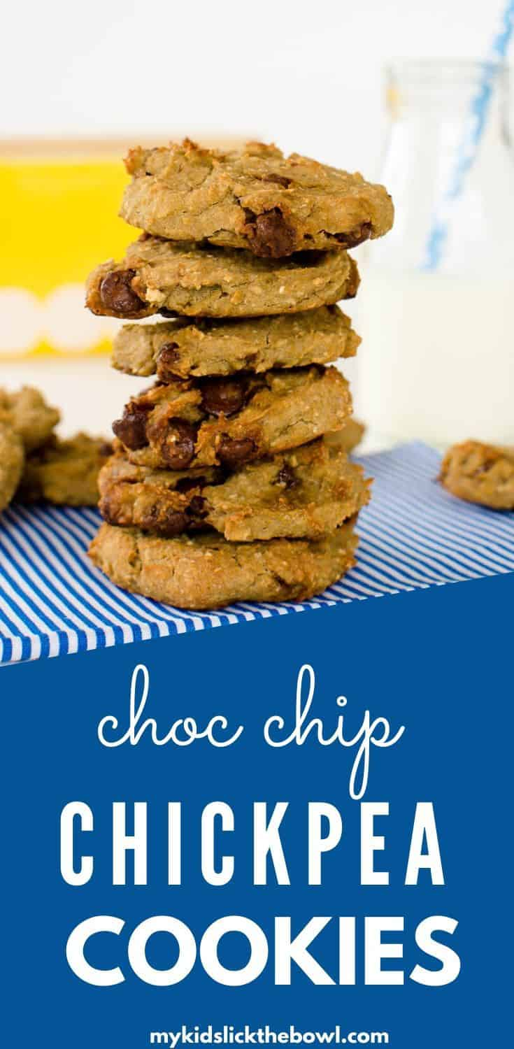 These chocolate chip chickpea cookies are such a great healthy cookie recipe. Vegan and nut free, they are perfect for the school lunchbox as well #chickpeacookies #vegancookies #chocolatechipcookies