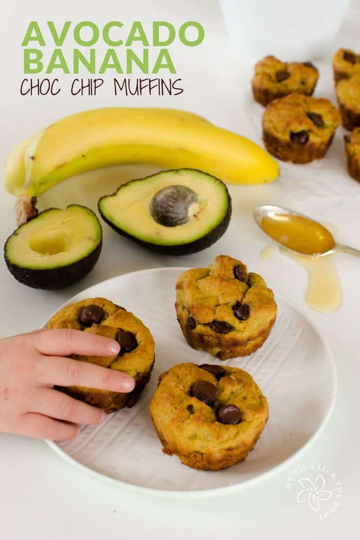 avocado banana muffin recipe, chocolate chip, healthy, dairy free, low sugar, for kids, healthy snack