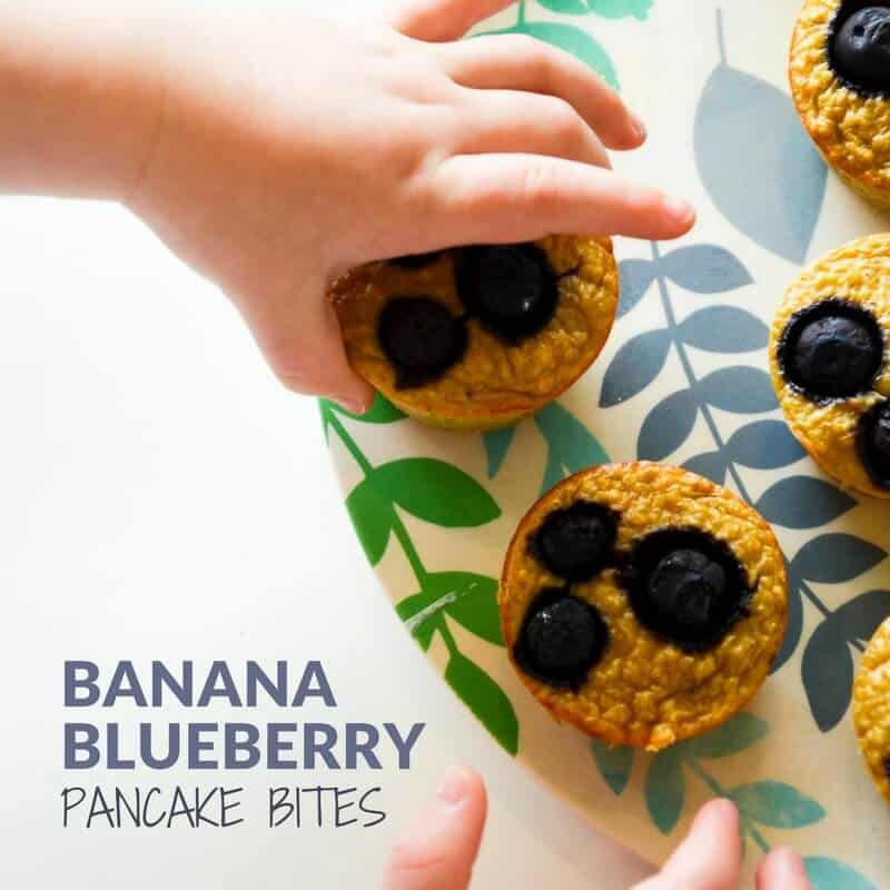 7 low sugar muffins for kids -healthy blueberry banana pancake muffin bites. easy breakfast recipe or healthy lunch box suitable for baby led weaning