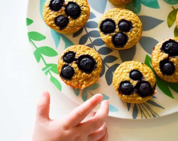 healthy blueberry banana pancake muffins