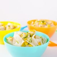 chicken noodle soup in a light blue children's bowl