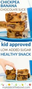chickpea banana and chocolate slice, healthy snack for kids. A grain free, egg and dairy free protein packed sweet treat.