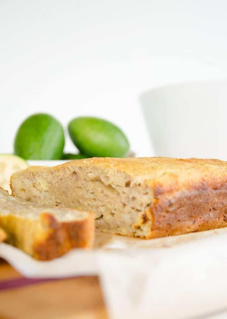 Feijoa almond loaf, a feijoa recipe for a moist loaf similar to banana bread, low in sugar and delicious