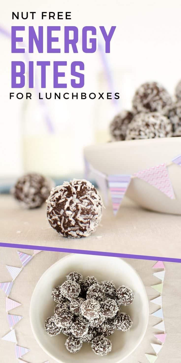 easy no-bake chocolate energy balls a nut-free vegan energy bite recipe #energybites #energyballs #blissballs #nutfree #snackattack #kidssanck #kidsfood