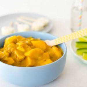 Mango chicken curry, an easy mild hidden veggie recipe for kids. A family favourite