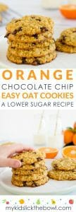 Orange choc chip oat cookies, easy recipe, lower in sugar, soft chewy style cookie