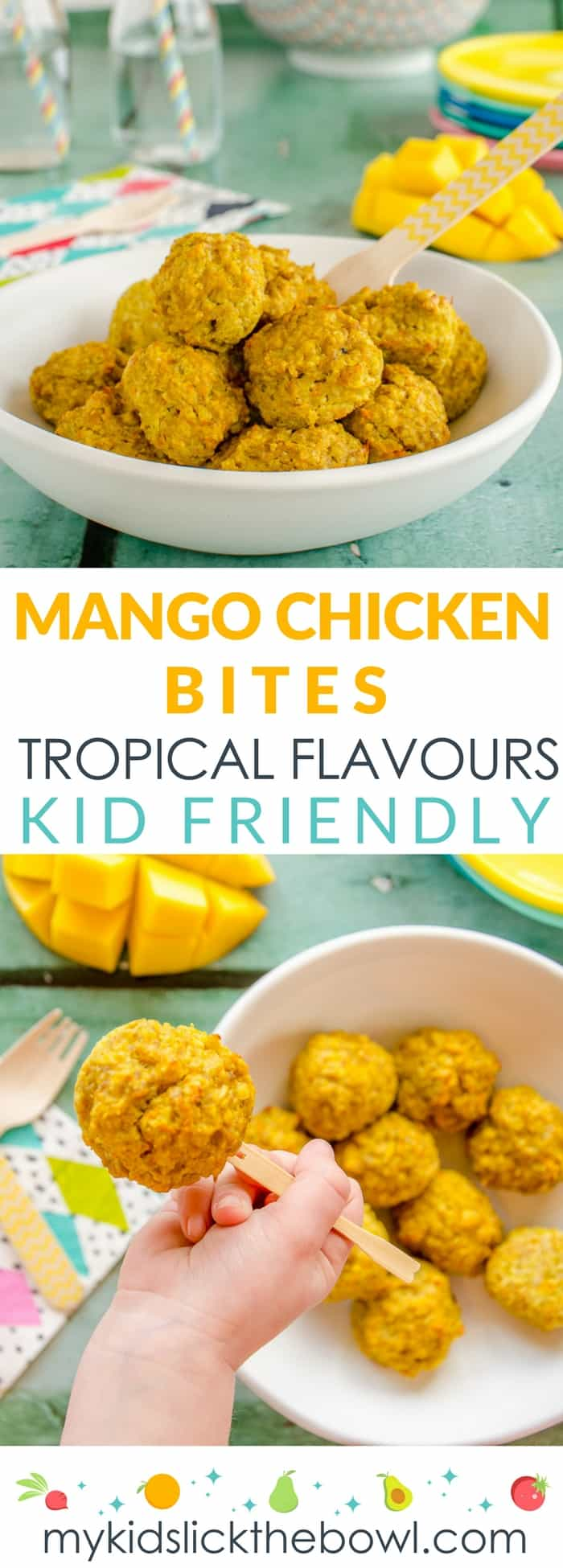Mango Chicken Bites a Baked Chicken Meatball that is golden and fruity Kid Friendly Recipe