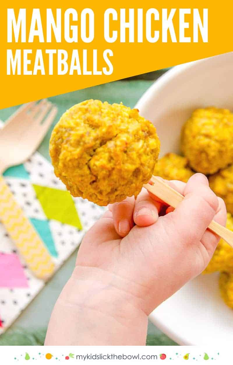 Mango chicken meatballs, an easy baked meatball recipe perfect for kids and toddlers baby led weaning #babyledweaning #kidsfood #toddlermeal