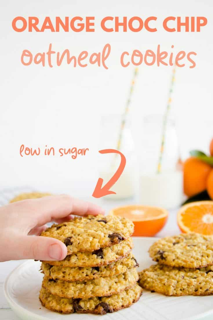 Orange choc chip oatmeal cookies, an easy recipe, made with basic ingredients lower in sugar, soft chewy style cookie #cookies #chocchipcookies #easybaking