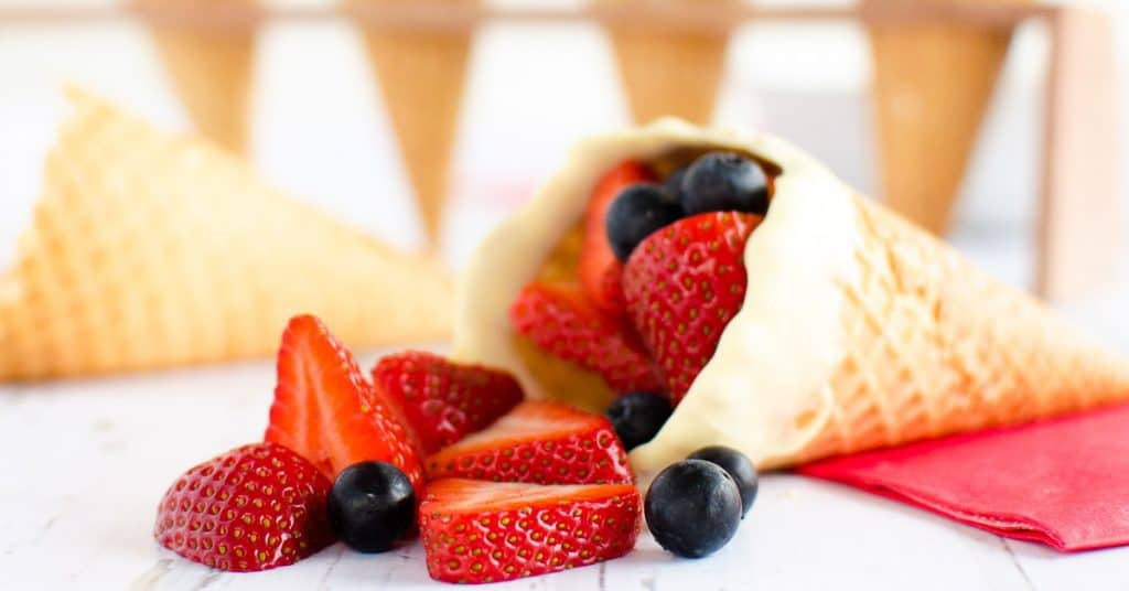 Red white and blue fun fruit cones a simple food idea or dessert idea for kids on the fourth of July