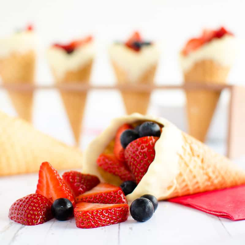 Red White and Blue Fun Fruit Cones