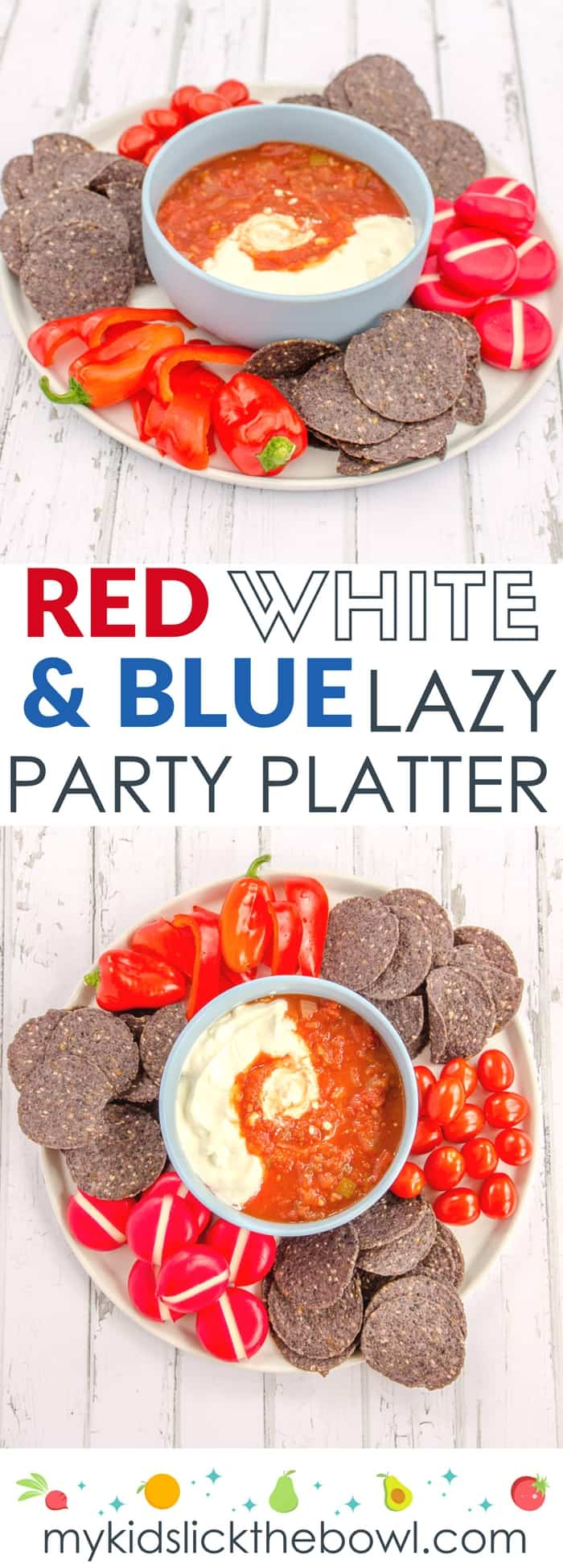 Red white and blue platter, a super easy patriotic party platter for the fourth of July