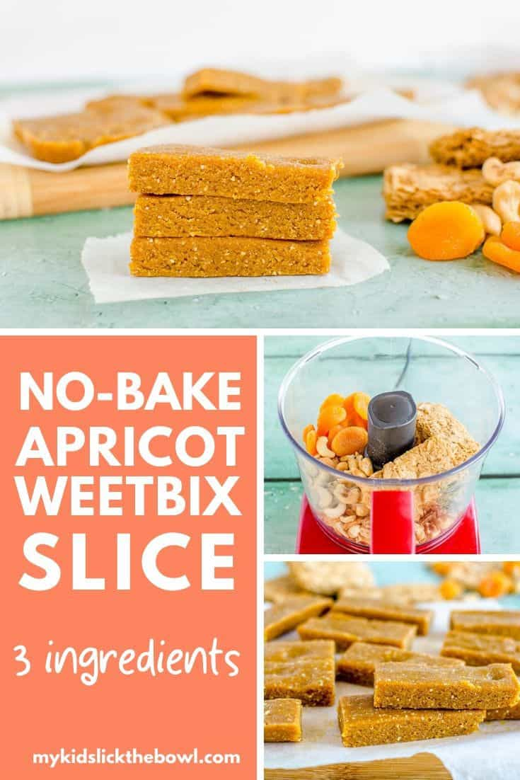 No-bake apricot weetbix slice, easy 3 ingredient kid-friendly recipe made with weetabix, or wheat biscuit breakfast cereal