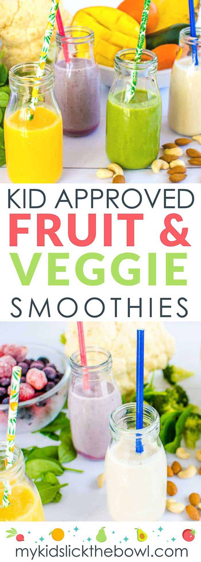 Fruit and veggie smoothies for kids, healthy and easy, perfect for picky eaters