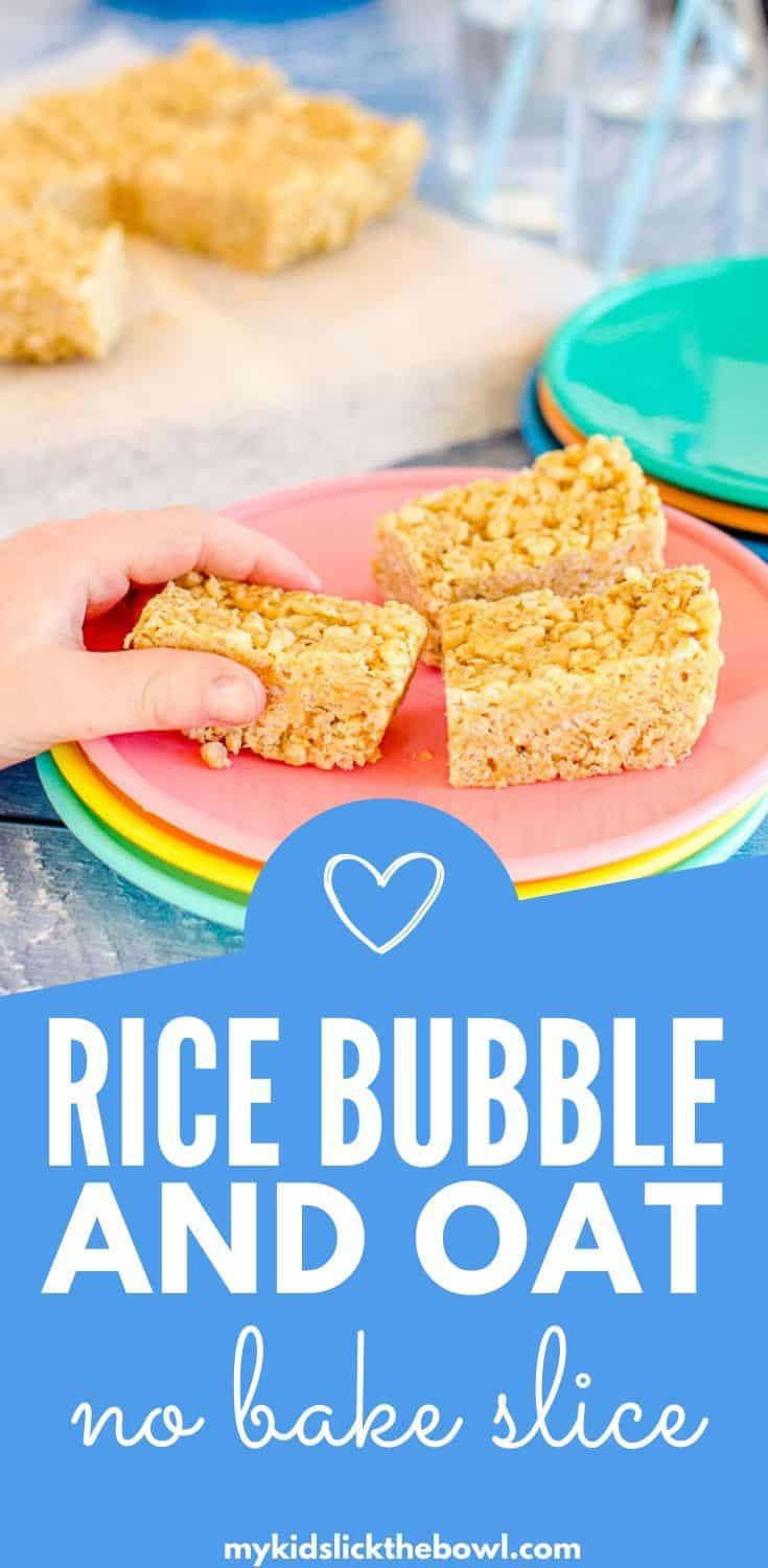 A healthy take on rice bubble slice, these rice krispie treats are low in sugar and have oats and peanut butter for extra fuel for kids #ricebubbles, #ricekrispies #ricebubbleslice