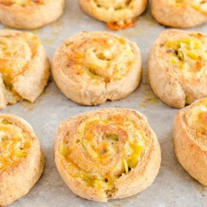 wholemeal yoghurt dough scrolls with cheese and leek, 2 ingredient dough recipe 2 ingredient filling, perfect for lunchbox