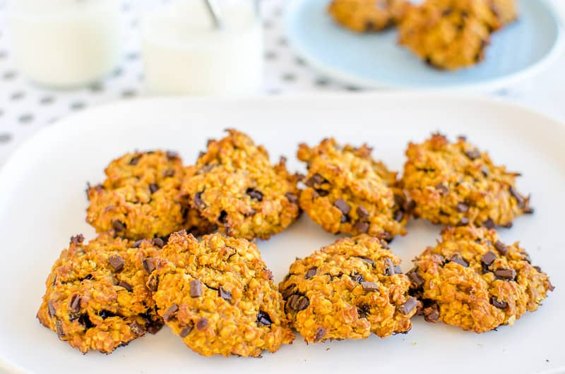 choc chip pumpkin peanut butter oat cookie, low sugar snack for kids, easy recipe, soft chewy style cookie