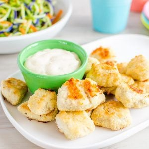Easy Healthy Chicken Nuggets for kids. 3 ingredient homemade baked chicken nugget recipe, allergy friendly. Suitable for paleo diet