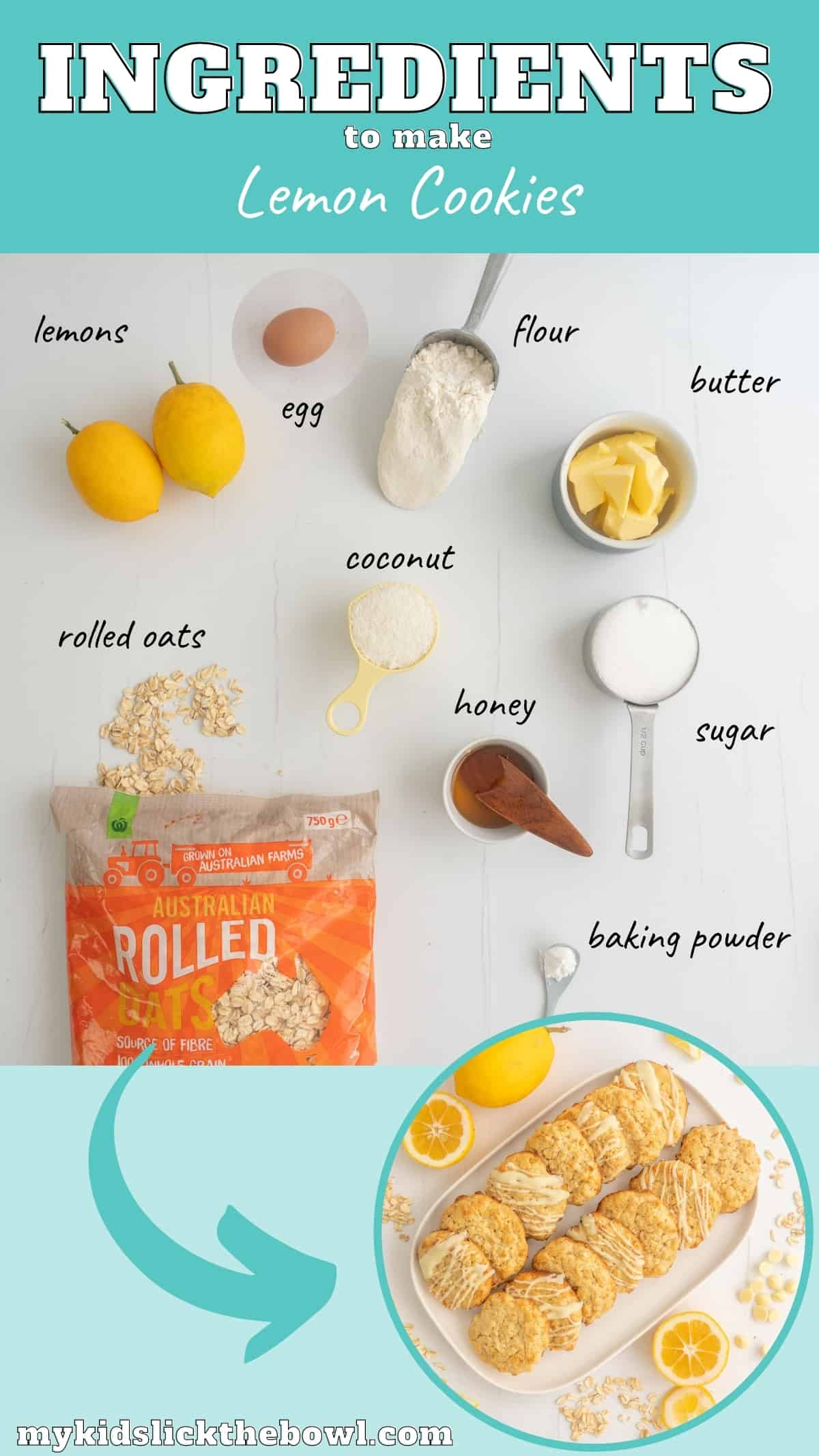 The ingredients to make lemon cookies laid out on a counter top with text overlay.