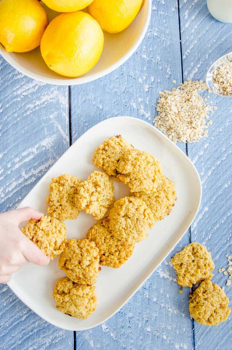 lemon coconut oat cookies, low sugar recipe, sweetened with a little honey. Low sugar snack for kids, easy recipe, soft chewy style cookie, wheat free, dairy free