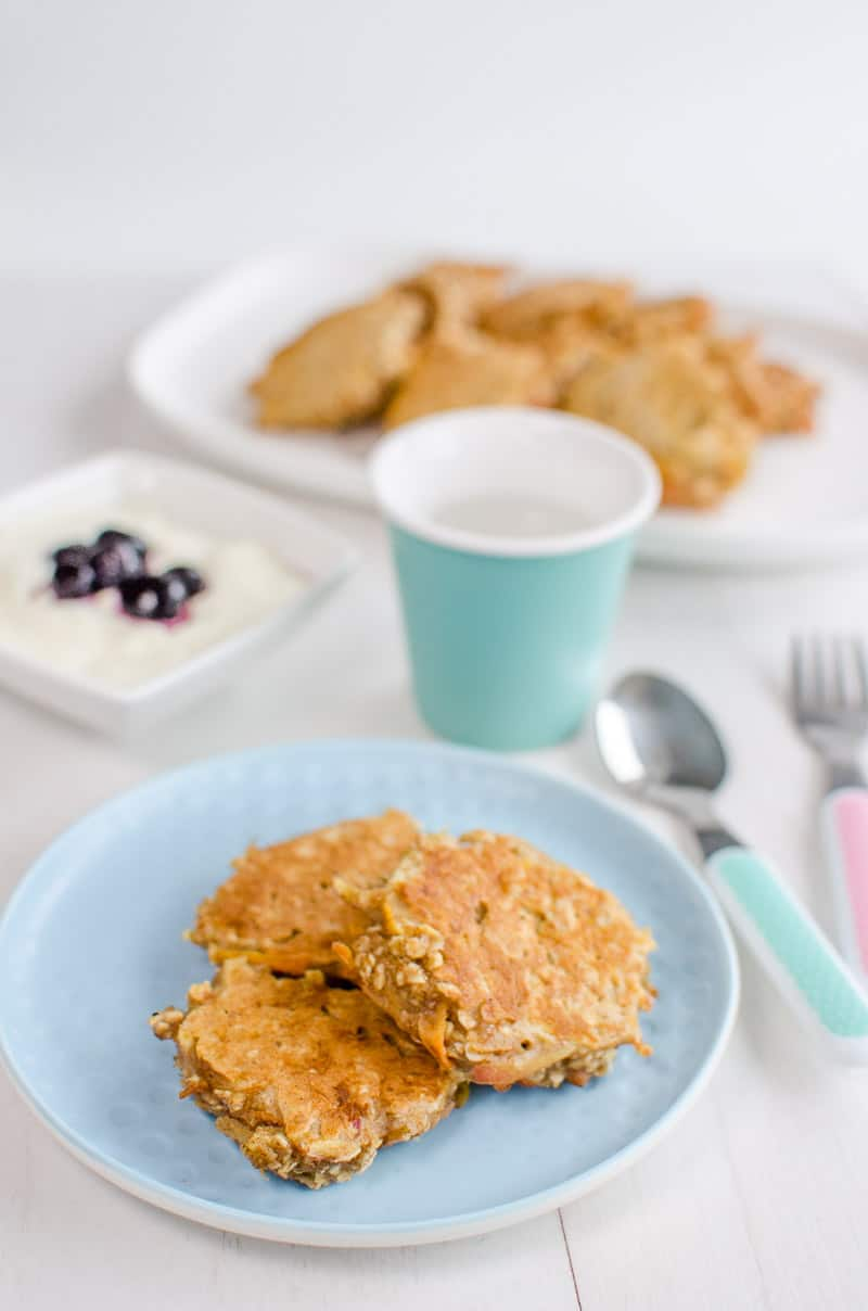 Carrot Cake Oat Cakes Healthy pancakes for kids and baby led weaning Sugar free snack. Perfect finger food sweetened only with fruit and vegetables
